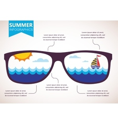 summer infographics sunglasses with ocean view vector image