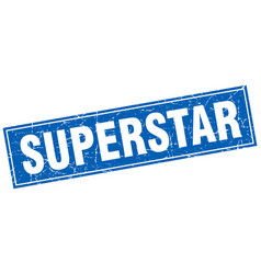 Superstar blue square grunge stamp on white vector