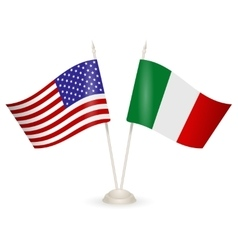 Table stand with flags of italy and usa vector