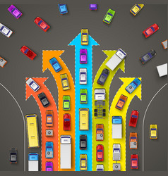 Traffic jam with directional arrows vector