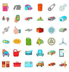 transport icons set cartoon style vector image