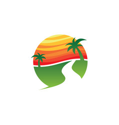 Travel holiday sunset island vector