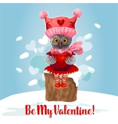 Valentine Day card of cute owl bird with heart vector