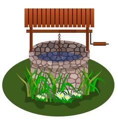 well for farm scene landscape design vector image