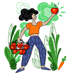 Woman harvests local organic production vector