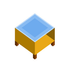 wood square coffee table 3d isometric furniture vector image