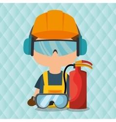 Worker fire extinguisher glasses vector