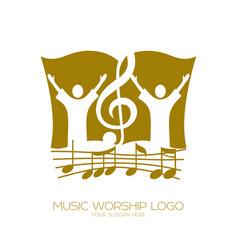 Worshiping god vector