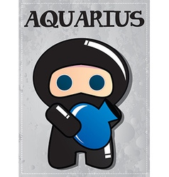 Zodiac sign Aquarius with cute black ninja vector image