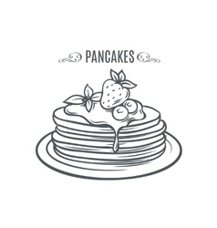 Hand drawn pancakes with strawberries and syrup vector image vector image