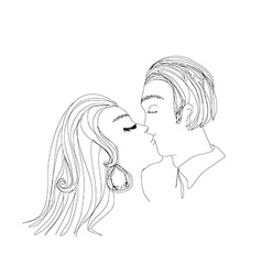 portrait of young couple kissing vector image