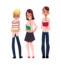 three students pupils school kids with books vector image vector image