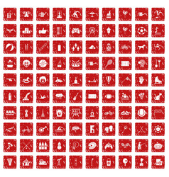 100 kids activity icons set grunge red vector image