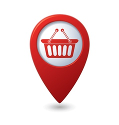 basket icon red map pointer vector image