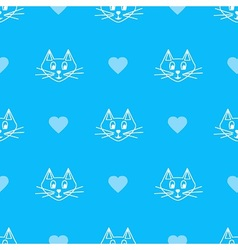 Blue cats faces vector image