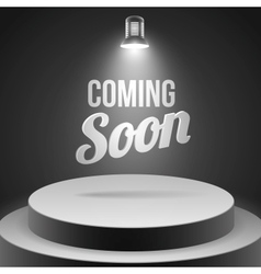 Coming soon message illuminated with stage light vector