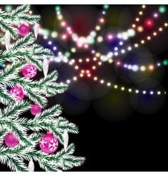 Fancy Christmas tree Bright festive lights vector image