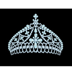 feminine wedding tiara crown with light stone vector image vector image