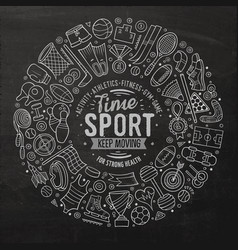 hand drawn set of sport cartoon doodle vector image