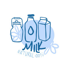 milk natural product logo symbol colorful hand vector image vector image