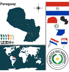 Paraguay map world vector image vector image