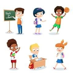 Set of cheerful school children Students cartoon vector image vector image