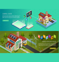 Smart Home Control 2 Isometric Banners vector image vector image