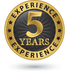 5 years experience gold label vector