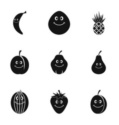 funny fruit icon set simple style vector image