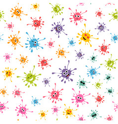 seamless pattern with colorful blot faces vector image vector image