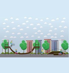 skate park concept in flat vector image