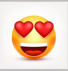 smileyemoticon with hearts yellow face with vector image vector image
