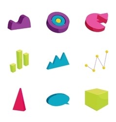 Business chart and graph icons set cartoon style vector image vector image