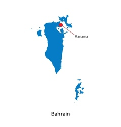 Detailed map of Bahrain and capital city Manama vector image vector image