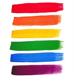 rainbow watercolor brush strokes vector image vector image