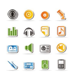 simple music and sound icons vector image