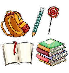 Sticker set with education objects vector