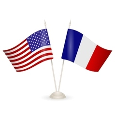 Table stand with flags of France and USA vector image