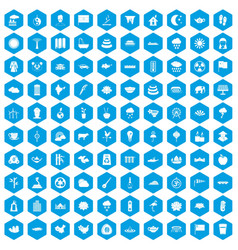 100 lotus icons set blue vector