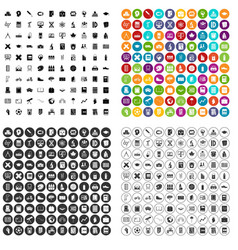 100 school icons set variant vector
