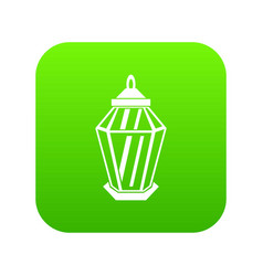 arabic lantern icon digital green vector image