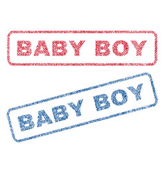 Baby boy textile stamps vector