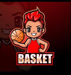 Basketball boy player mascot logo design vector
