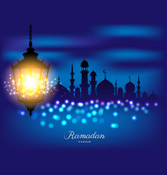 Beautiful bright lamp with mosque for ramadan of vector