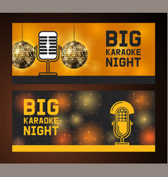 big karaoke night microphone set banners vector image