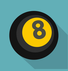 Black snooker eight pool icon flat style vector