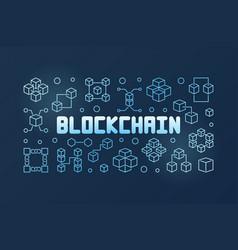 blockchain technology blue outline banner vector image