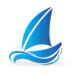 blue boat in the sea icon vector image