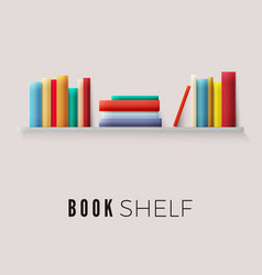 Bookshelf with books on wall stack paper books vector