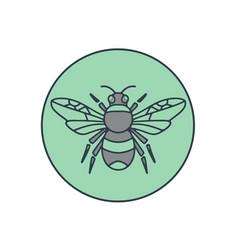 Bumble bee circle mono line vector